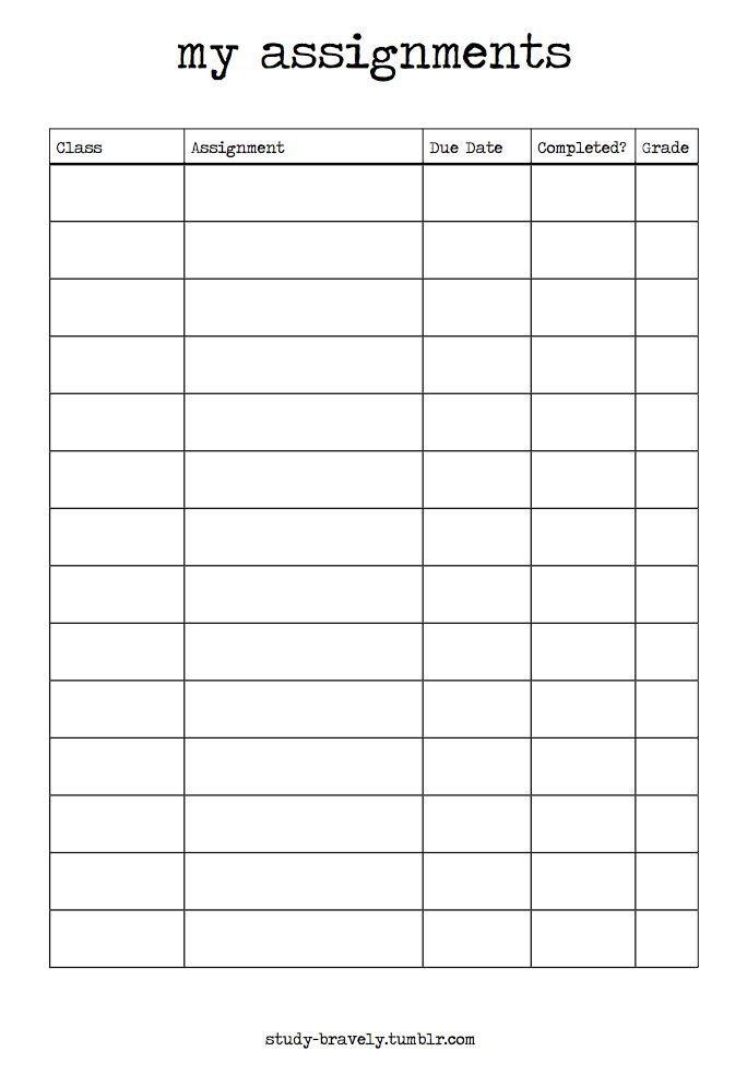 study-bravely:  Assignment Tracker Printable {download link here}                                                                                                                                                     More