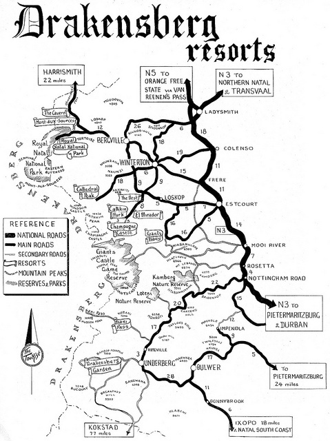 Drakensberg Resorts Road Map