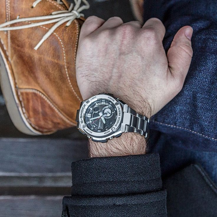 Steady in steel with the G-SHOCK GST210D-1A.