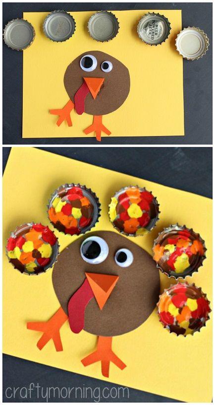Painted Bottle Cap Turkey Craft #Thanksgiving craft for kids to make   CraftyMorning.com