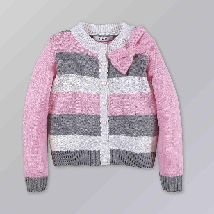 Kindo - ❤Кардиган для девочки в розово-серую полоску 176-1663. ✿Доступные цены. ✓Гарантия качества. ✖Доставка по всей Украине. Звоните ☎ 38 (095) 670-02-75