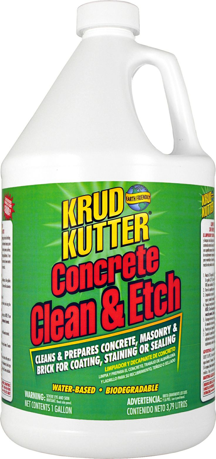 Must have for the Chicago Bungalow's limestone. KRUD KUTTER CONCRETE CLEAN & ETCH is ideal for cleaning, degreasing, and acid etching concrete floors, walls, basements, driveways, swimming pools, patios, and containment areas prior to coating, staining or sealing. It can also be used to remove efflorescence (alkali salts) and to neutralize new concrete and new mortar joints on block, masonry, and brick.