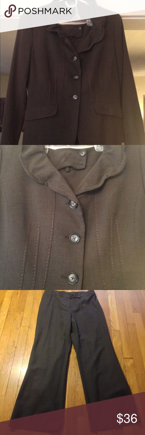 Beautiful Yansi Fugel Wide Leg Suit Wonderful detail to this suit.   Wired collar   Beautiful seaming in the front. 3 Seasons. Great piece for your professional closet. Yansi Fugel Other