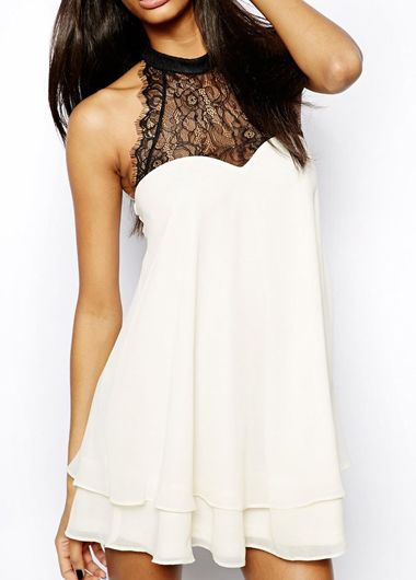Enchanting off the Shoulder White Dress with Lace | Rosewe.com
