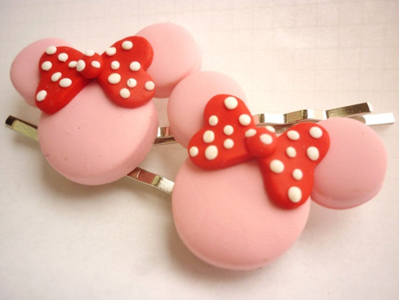 Cartoon inpired pink hair pins bobby pins by JustFingerPrint, $7.00