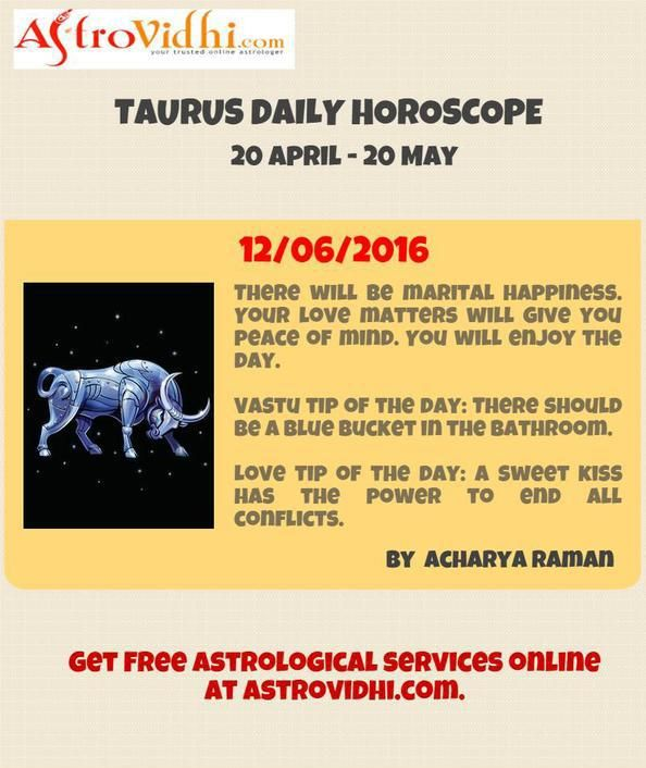 Check your Taurus Daily Horoscope (12/06/2016).Read your daily horoscope online Hindi/English at AstroVidhi.com.  #taurus #daily_horoscope