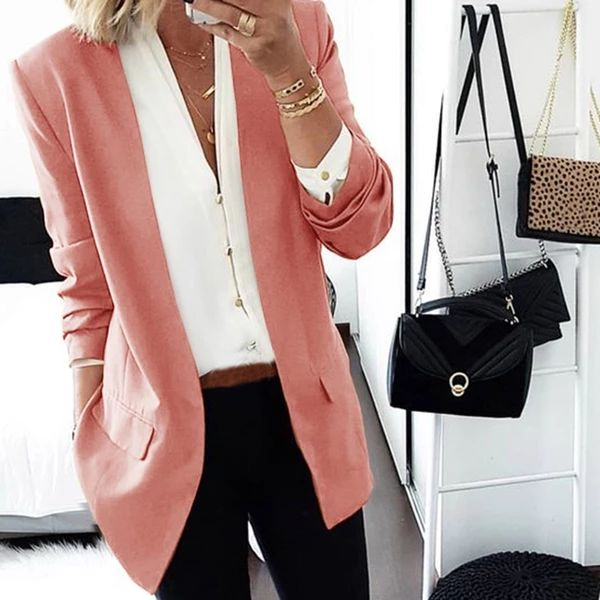 Brief Long Sleeve Pure Colour Loose Women Medium Blazer 11
