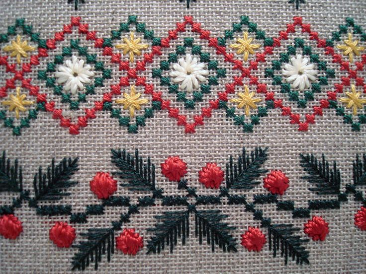 Kreinik Silk Mori and Silk Serica in Evergreen Sampler design.