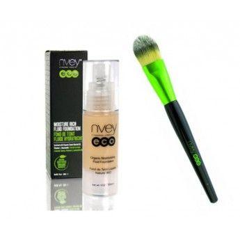 Pack perfecto para un acabado profesional y duradero, la base de maquillaje calma, hidrata y cuida la piel http://belleza.tutunca.es/pack-maquillaje-organico-fluido-brocha-nvey-eco