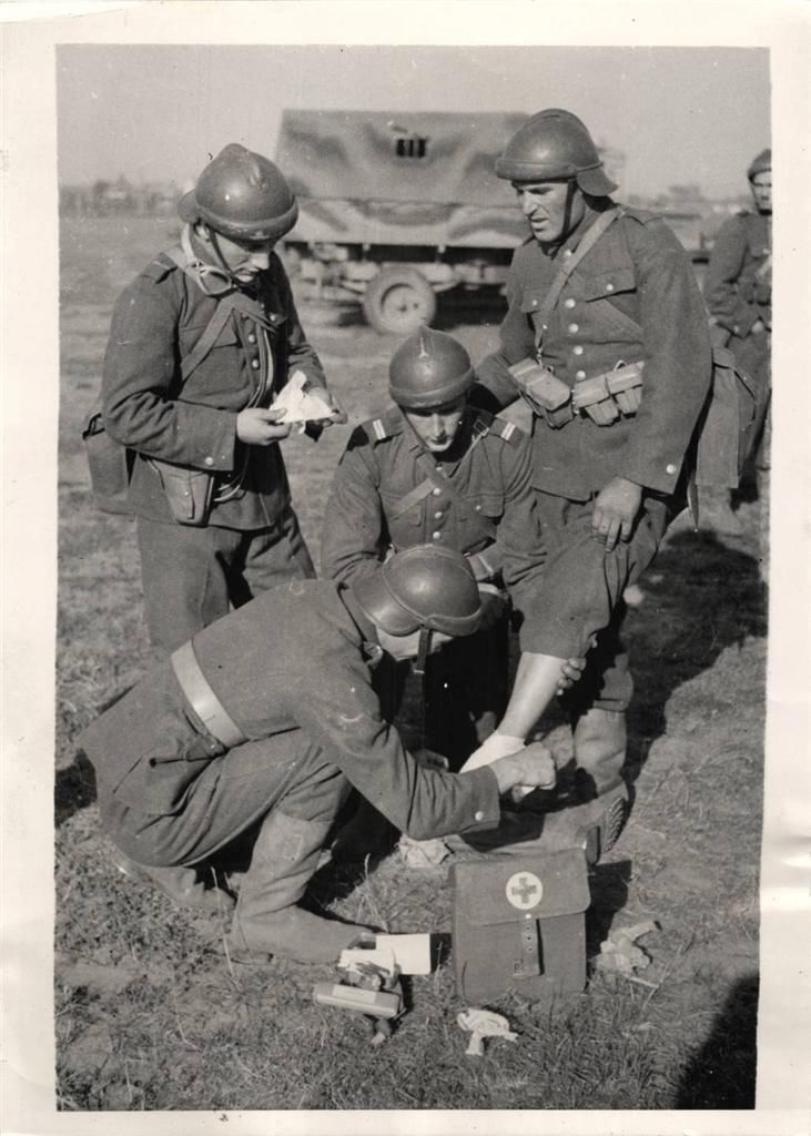 1939- Polish army first aid unit treating a wounded soldier near Lwow.