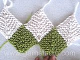 """DROPS 103-3 - The set consist of: A Domino knitted DROPS scarf and a DROPS headband in garter sts with """"Alpaca"""". - Free pattern by DROPS Design"""