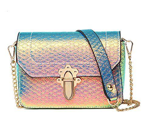 2017  Women/'s  Hologram Snake Skin Leather Shoulder Bag Crossbody Bag with Chain