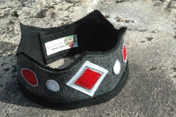 Black and Red Knight Felt Crown Eco Felt Crown by TheTreeHouseKid, $22.00