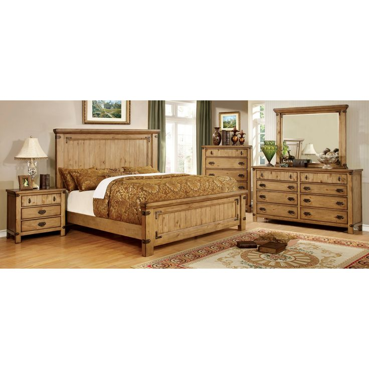 industrial bedroom furniture melbourne%0A Furniture of America Cauble Panel Bed Set  The country style Furniture of  America Cauble Panel Bed Set features sturdy wood craftsmanship enhanced  with a