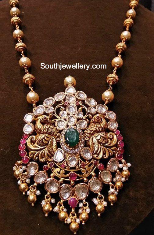 South Sea Pearls annd Nakshi Balls Mala with Peacock Pendant