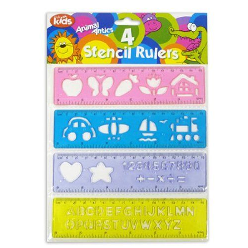 """Animal Antics"" Pack of 4 Stencil Rulers for Kids Childrens School by Royle Kids Royle http://www.amazon.co.uk/dp/B00BY9CZSG/ref=cm_sw_r_pi_dp_UyH0vb0ZTDDRP"