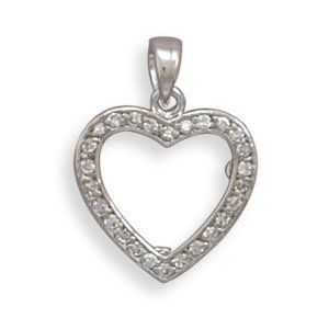 Rhodium Plated CZ Heart Picture Frame Pendant Driscoll's Jewelry & Gifts. $24.94
