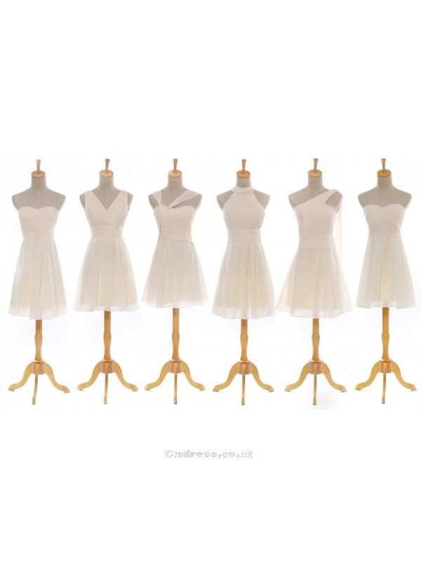6 design short champagne chiffon Bridesmaid Dresses Party Dresses Wedding Apparel From New Zealand