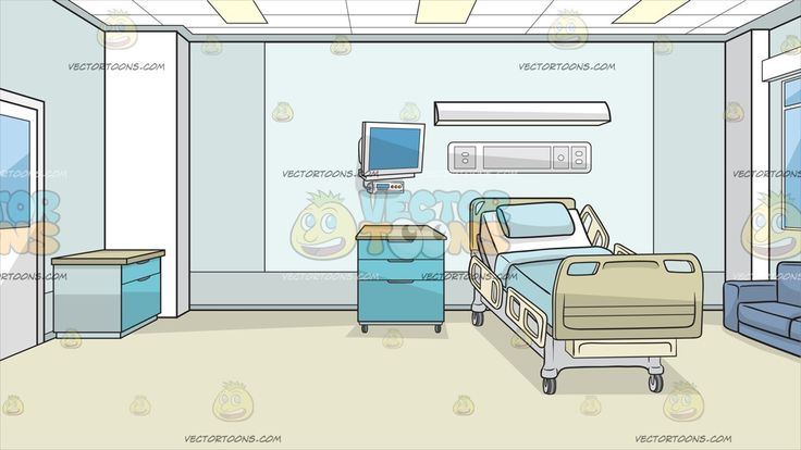 Inside A Hospital Room Background :  Inside a private hospital room with light teal and white walls paneled lighted ceiling beige flooring teal storage blue couch light monitor and a reclining automatic hospital bed  The post Inside A Hospital Room Background appeared first on VectorToons.com.