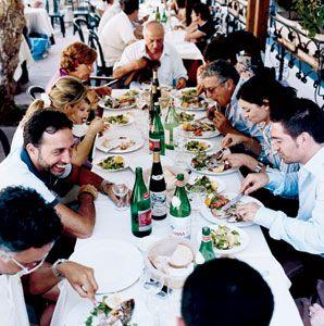 Group dining at Al Convento, in the Amalfi Coast village of Cetara