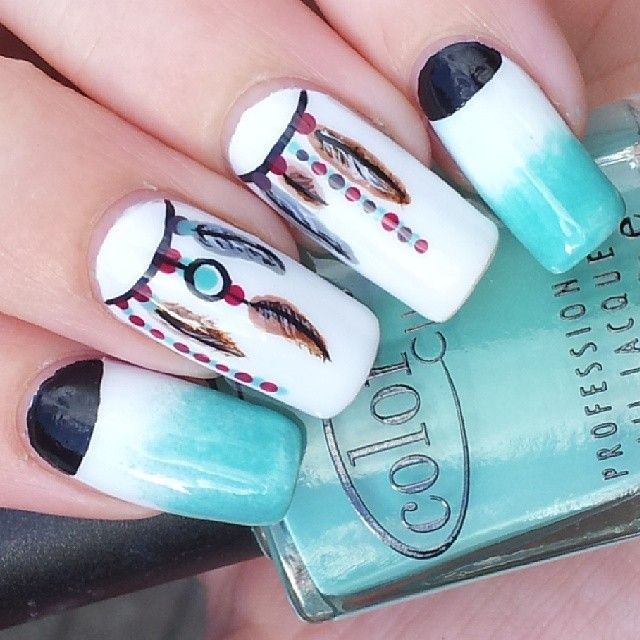 Lots of dream catcher nail designs and ideas. How beautiful and unique with  such good meaning. I love it. (Cool Crafts With Nail Polish) - 25+ Unique Dream Catcher Nails Ideas On Pinterest Feather Nail