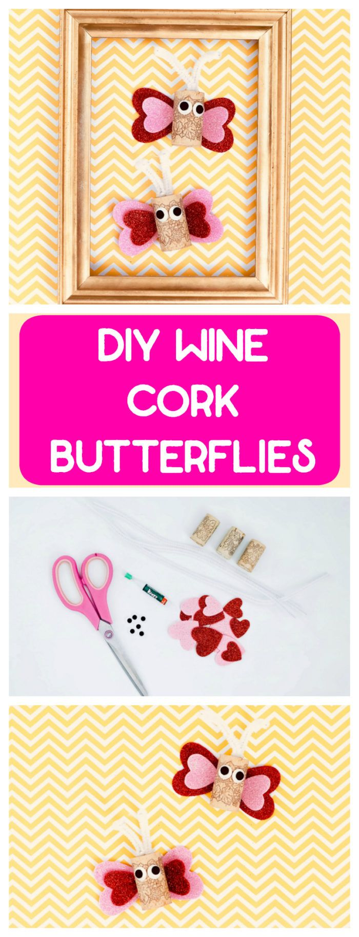 How to make diy Wine Cork Butterflies. These are super easy and really cute butterflies. This would be a fun family or kids craft project as well. #crafts #kids #DIY #winecorks