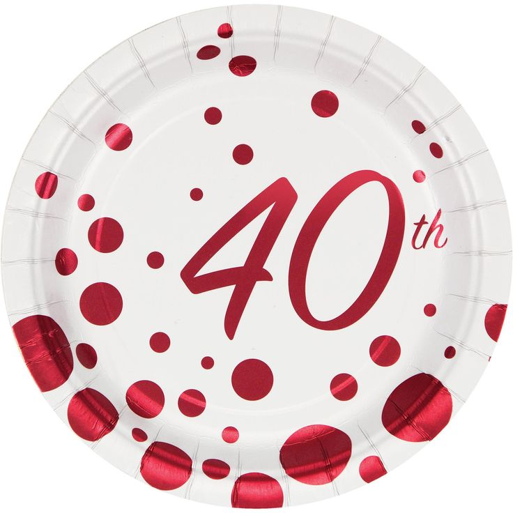 (96/case) Sparkle and Shine Ruby 40th Anniversary 7'' Lunch Plate, Foil