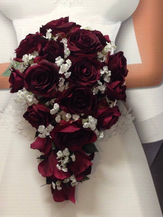 Wine Burgundy Calla Lilies Cascading Tear Drop Fake Flowers Wedding Flowers Red Bouquet Wedding Rose Wedding Bouquet White Wedding Bouquets