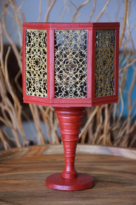 Vase Handmade Red and Gold Octagon by ThadamCreativeDesign on Etsy