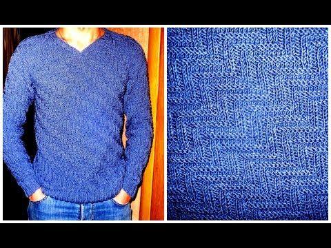 Вязание спицами оригинального узора для мужских свитеров, снудов, жилетов - YouTube