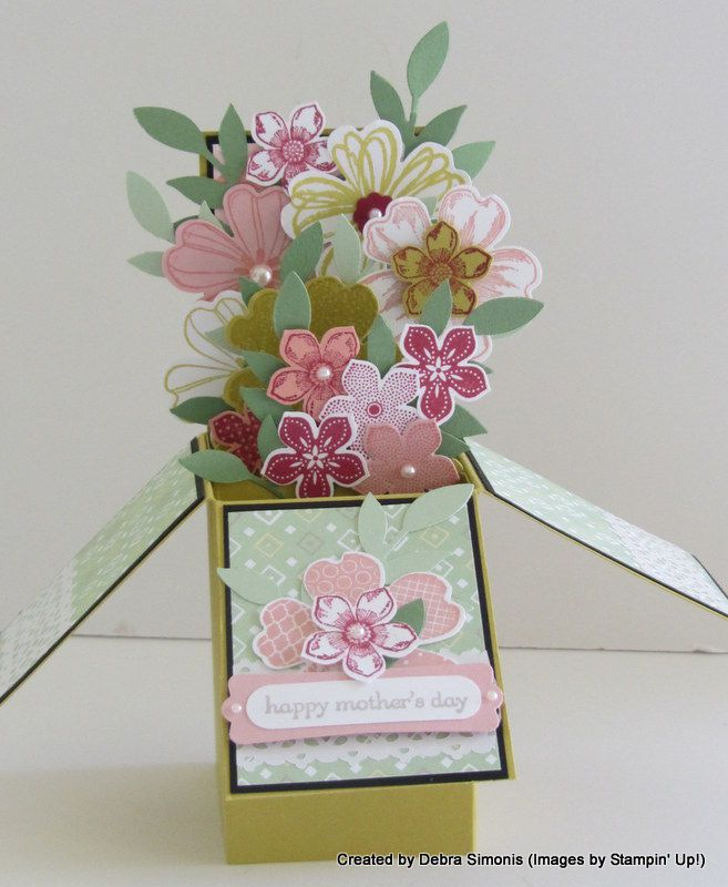 """""""Card in a Box"""" with Flower Shop and Petite Petals stamp sets. Makes a great Mother's Day or Easter card! Deb's Stampin' Grounds http://www.stampinup.net/esuite/home/debrasimonis/blog"""