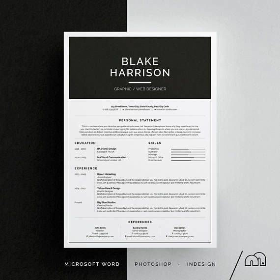 CV Template Blake Resume/CV Template | Word | Photoshop | InDesign | Professional Resume Design | Cover Letter | Instant Download