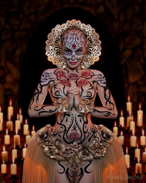Day Of The Dead ~ Full Body Paint by Nelly Recchia