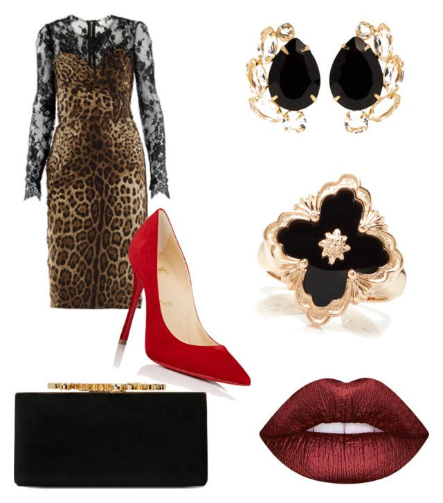 """""""Valentino night out"""" by al-gessica on Polyvore featuring mode, Dolce&Gabbana, Christian Louboutin, Lime Crime, Buccellati, Jimmy Choo et Bounkit"""