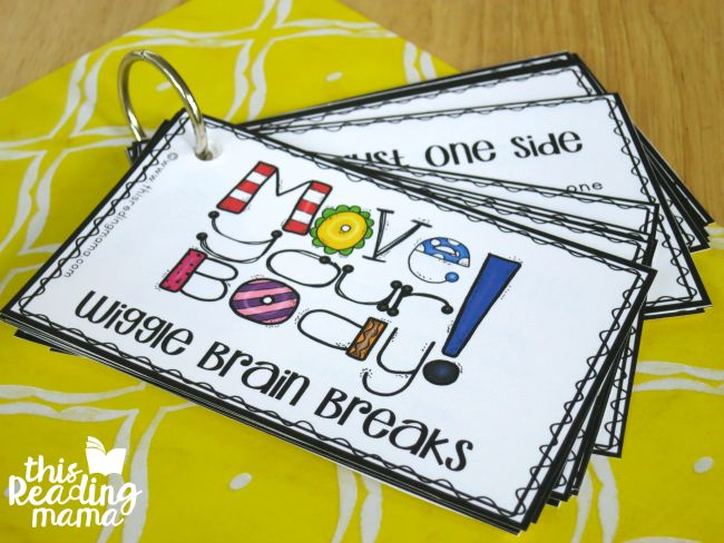 flip book of wiggle brain breaks                                                                                                                                                                                 More