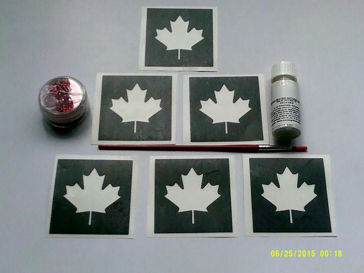 Canadian Maple Leaf glitter tattoo set including 30 stencils + red glitter + glue  children  flower Canada rugby World Cup rugby by Dazzleglittertattoo on Etsy