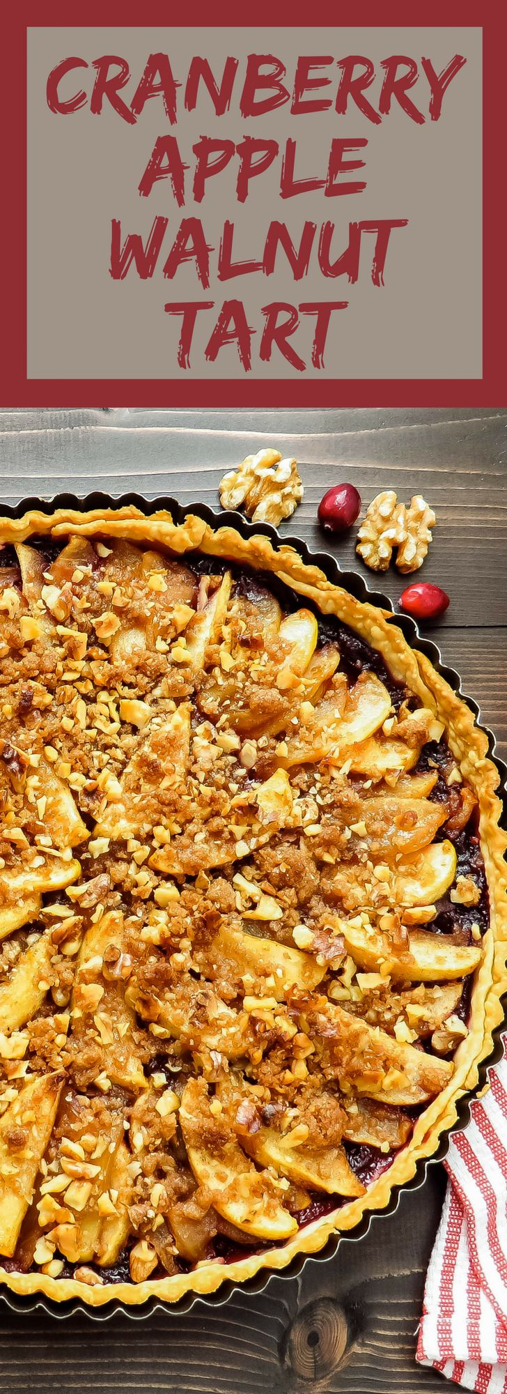 A fall dessert recipe that's not too sweet with fresh apple, leftover cranberry sauce and walnut streusel. This cranberry apple walnut tart is easy to make.