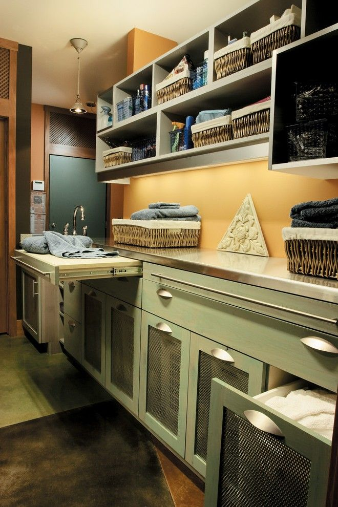 Laundry Folding Table Room Traditional with Dark Wood Door Drawer and Shelf Liners
