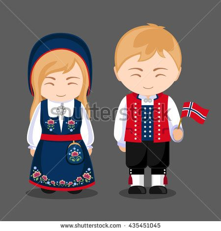 Norse in national dress with a flag. A man and a woman in traditional costume. Travel to Norway. People. Vector illustration.