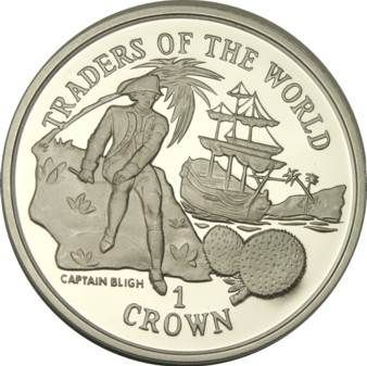 Gibraltar, 1 crown, 1997.   The Bounty.  Captain Bligh and his ill-fated trip.