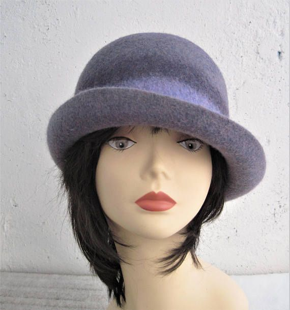 Felted hat with brim Women's felted hat Asymmetrical hat