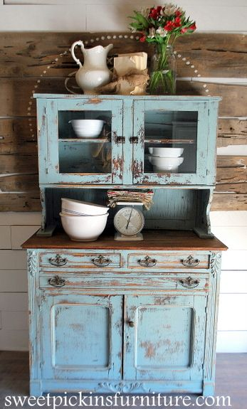 I have a hutch like this.   I love it.  I prefer this color to the color of blue on mine.  I have been looking for this type of color for another piece in my dining room so I think I will give it a whirl.  cool!!  - love this site too!  Sweet Pickins Furniture - Sherwin Williams Copen Blue