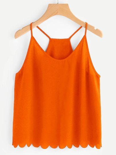 Plus Neon Orange Crisscross Back Scallop Edge Peplum Top