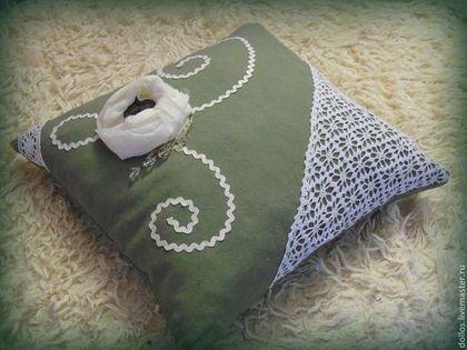 """Подушка """"Осенняя роза"""" - хаки,подушка декоративная,винтажный стиль,ручная работа"""