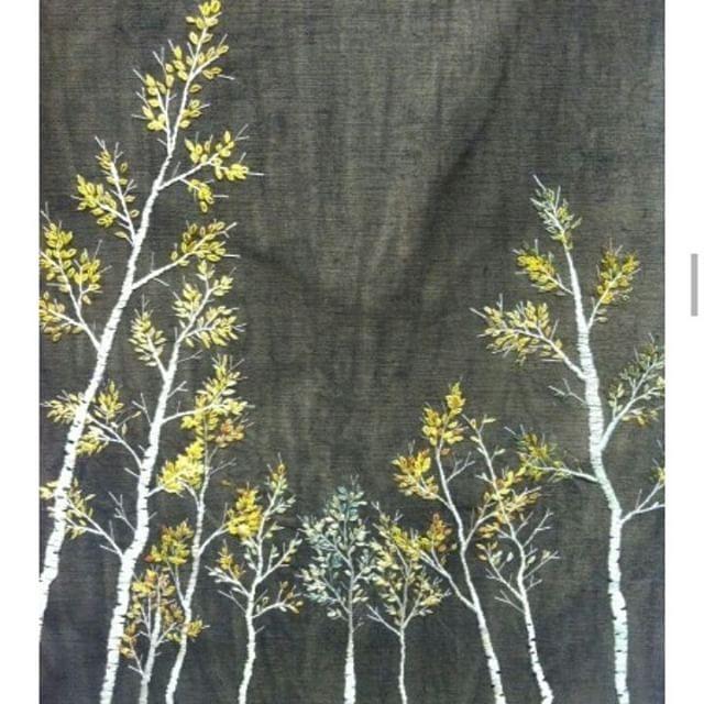 비탈진 언덕 위태롭게 선 자작나무 비오는 대관령 에서 #프랑스자수 #embroidery ...