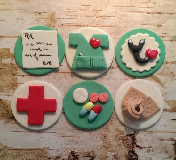 Get Well, Nurses and Drs Fondant Cupcake Toppers  Set of 12 (one dozen)