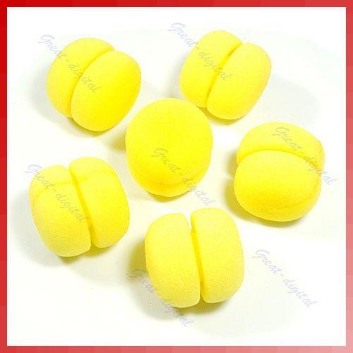 18pcs/lot Yellow Balls Soft Sponge Hair Care Curler Rollers