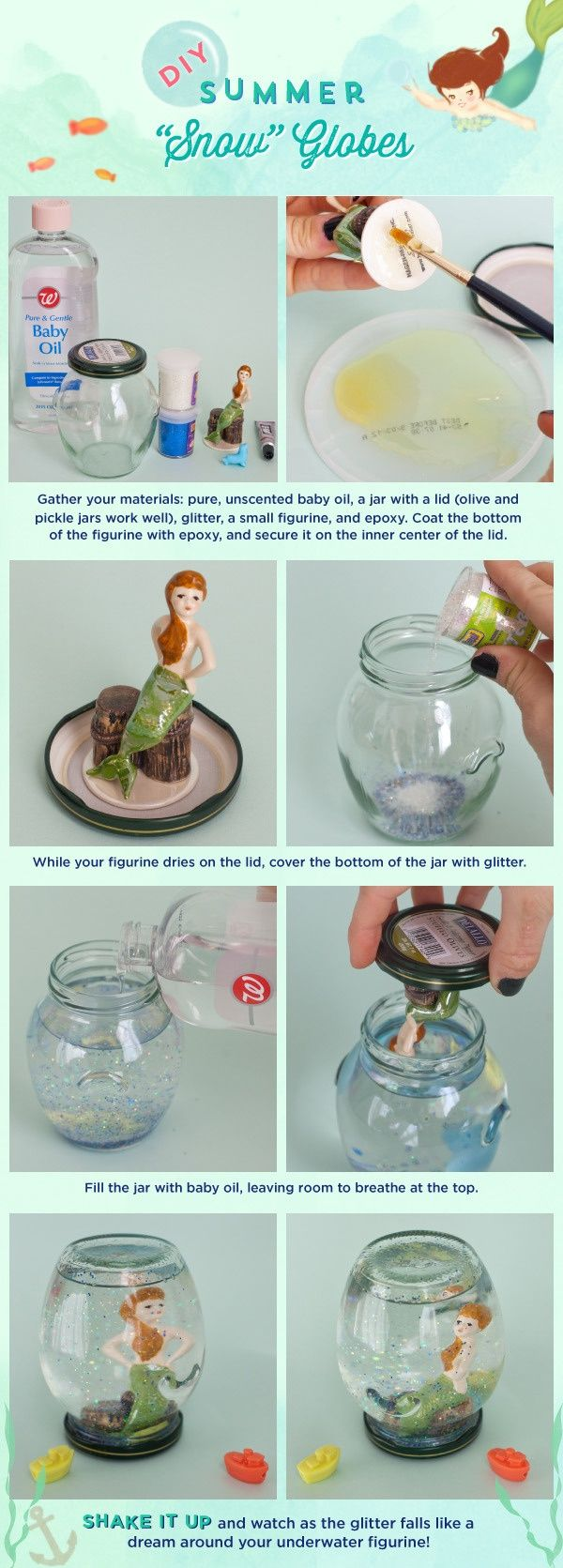 "Shake things up: Make a DIY Summer ""Snow"" Globe! 