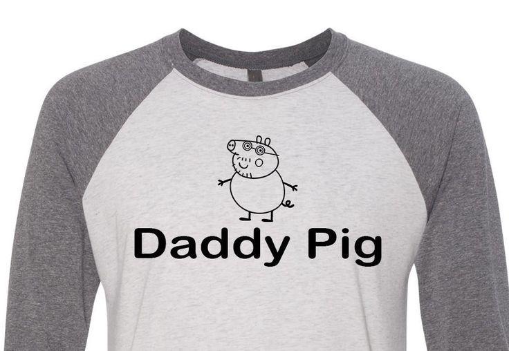 Daddy Pig Shirt,Trebled 3/4 Sleeve Raglan Tees, H Gray ,Dad Shirt,Birthday Shirt, Birthday Gift, Vintage Age,Daddy Shirt,