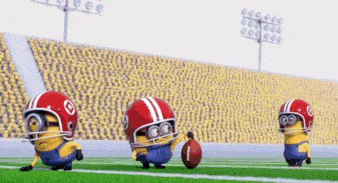 Funny GIF Minions football.  See my Minions pins https://www.pinterest.com/search/my_pins/?q=minions